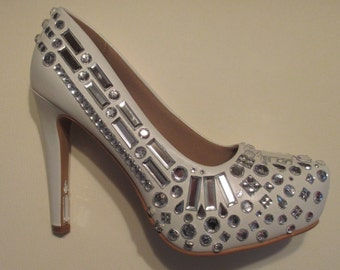 SALE White Rhinestone Platform Pumps Fabulous