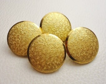 """Golden Swirls: 3/4"""" (19mm) Bright Goldtone Metal Buttons - Vintage Set of 4 New / Unused Matching Buttons"""