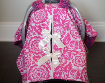 """Baby Car Seat Canopy Cover with slit AND Nursing Veil / Nursing Cover - """"Sugarplum"""""""