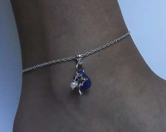 Dolphin anklet. Blue sea glass anklet Beach glass jewelry.