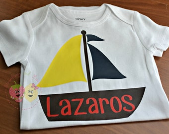 Boys Sail Boat Shirt ~ Boys Summer Shirt ~ Personalized Shirt ~ Boys Boat Shirt ~ Boys Bodysuit