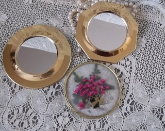 Vintage wall collection, Petite Brass mirror pair, round and octagon and  bezel dried floral