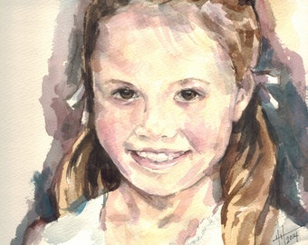 Custom Children's Portrait, Original Watercolor Painting 8X10, 11X14, 16X20