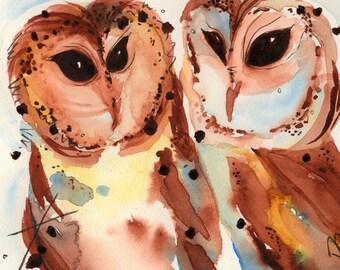 10 x 8 Owl Art Print, Two Owls,Bird Art,  Wildlife Fine Art Print