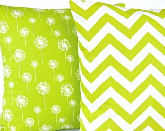 Lime Green Pillows Decorative Throw Pillow Cushion Covers Chartreuse White Chevron Dandelion Designer Pillow Lime  Bedding Decor Sofa Pillow