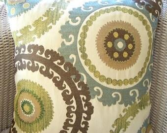 "Blue Brown Tan Suzani Ikat Pillows Decorative Throw Pillow Cushion Covers 20"" Euro Shams Sofa Couch Pillow Brown Blue Bed Cushion Zippers"