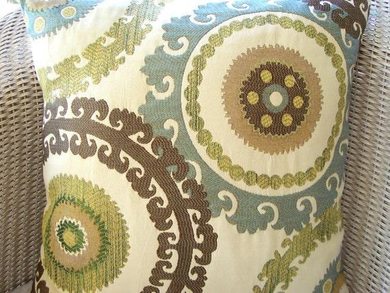 Blue Brown Tan Suzani Ikat Pillows Decorative Throw Pillow