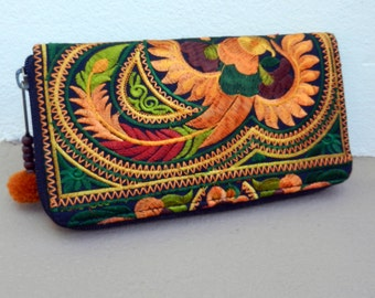 Traditional Hmong Wallets, Hmong Ethnic Bag, Embroidered Purse, Hill Tribe Bag,  Handmade Clutch Purse, Orange Green Wallet  WL3