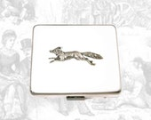 Fox Run 7 Day Pill Box with Mirror Inlaid in Hand Painted White Enamel Woodland Inspired Personalized and Custom Color Options