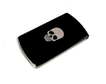 Vertical Business Card Case Skull Inlaid in Hand Painted Enamel Gothic Victorian Custom Colors and Personalized Options