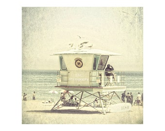 Santa Cruz Photography. Vintage Beach photo. Lifeguard Tower. Summer. Beige. Beach house decor. Retro art. California home decor.