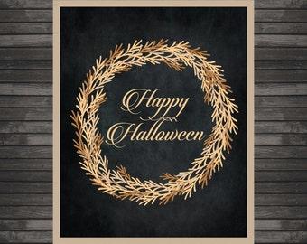 Halloween Decor, Happy Halloween Art Printable, Instant Download