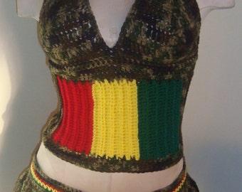 Bob Marley Camo, Red, Yellow and Green 2pc Crochet Corset Top W/ Matching Mini Skirt---