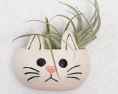 Porcelain Kitty Cat Wall Pocket for Air Plants, Succulents, or Herbs
