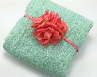 Mint Cheesecloth Wrap with Coral Pink Flower Headband Set for Newborn Baby Girl Photo Session, Photo Prop, Baby Shower Gift