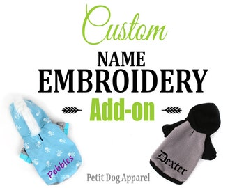 ADD ON Embroidery custom name addtion to any hoodie