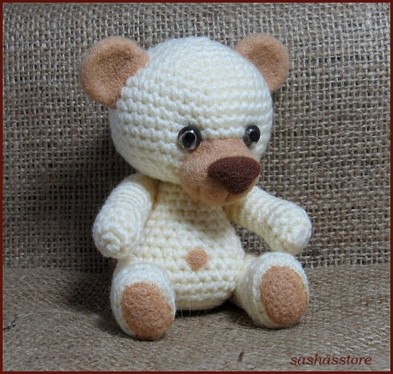 Crochet amigurumi teddy bear with needle felted by sashasstore