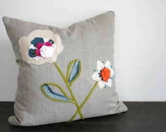 Beaded and Emboidered Modern Flowers Linen and Wool Textural Throw Pillow