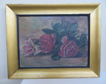 Vintage OIL Painting Still Life / Victorian Edwardian / RED Roses / 12 1/2 by 15 3/4 / 1900 to 1930