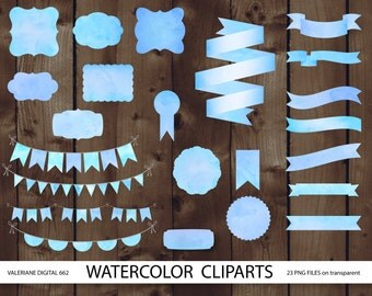 Watercolor ribbons frames and bunting clipart set, blue watercolor, digital frame, digital banner, label - 662