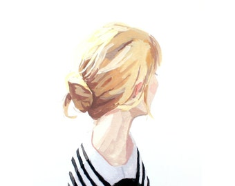 "5x7"" hair art - bun print - ""bun 3"""