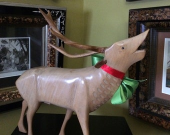 Mid Century Reindeer Carving Maple Hardwood