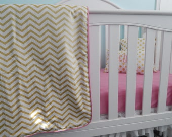 Gold Glitz Collection - Pearlized Chevron and Dots Crib/Toddler Bedding