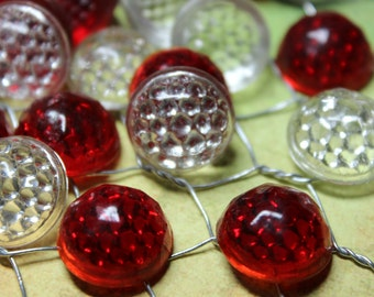 4 Vintage Red and Clear Glass Reflectors