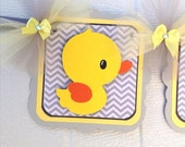 Rubber duck gender neutral baby shower banner, grey chevron, and yellow