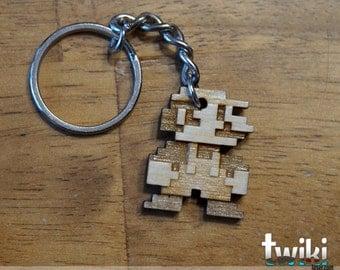 Mario Bros 8bit wood keyring OR charm accessory