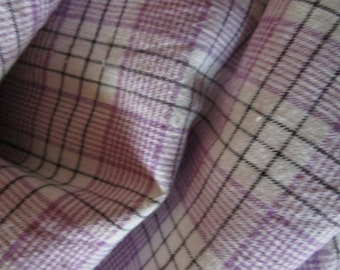Vintage French Lilac Lavender Plaid Check Gingham Black Stripes Suitable for Patchwork Quilting Lavender Bags Feedsack Pillow