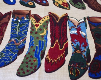 "3/4 Yard x 54""  Wide Interior Fabric Design An Original Design of Cowboy Boots Cotton Fabric"