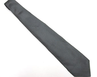 """Gray Black White Necktie Geoffrey Beene 4"""" Wide Tie L Silk"""