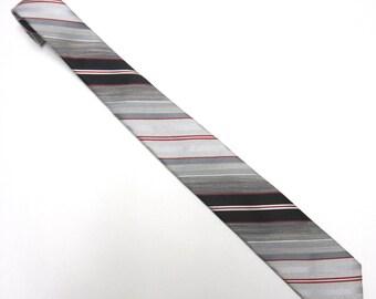 """Red Gray Black Necktie 3"""" Wide Tie"""