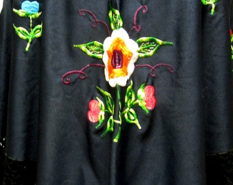 Black Shawl Throw Wrap Embroidered Rose Fringed
