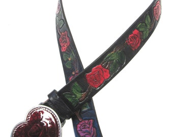 Black Belt Leather Size S Red Rose Tattoo Express Tooled