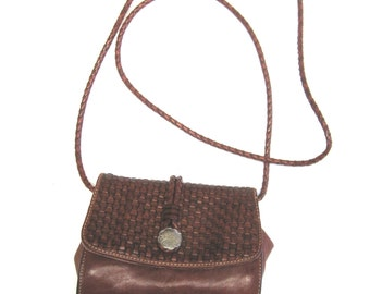Brown Leather Purse Handbag Basket Weave Harolds Made In Italy