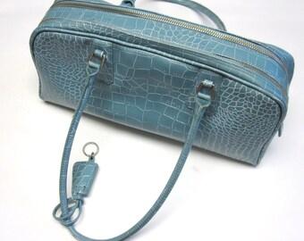 Vintage Pale Blue Purse Handbag Airline Style Alligator Print