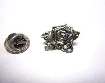 Rose Tie Tack Tie Tac Pin Silver