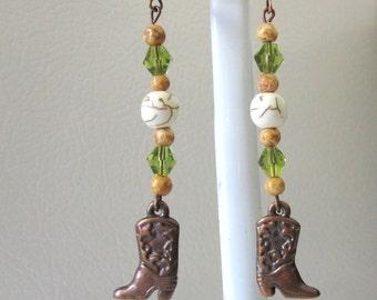 Green Cowboy Boot Western Earrings Copper Cowgirl Bling