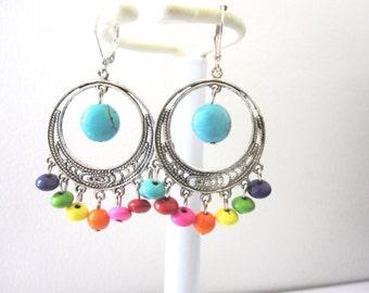 Chandelier Earrings Turquoise Blue Silver Orange Stone Leverback