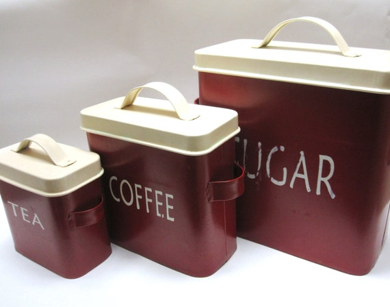 Dark red canister ivory set of three 60s kitchen decor nesting for 60s kitchen set
