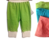 Organic baby pants cloth diaper, 3 bright colours, cute bum patch, boy or girl
