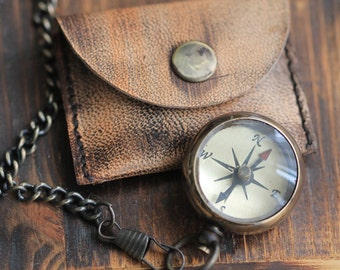 Compass, CC&C Original Open-Face Small Brass Pocket Compass Necklace CP27, Engravable Compass, Leather Case Included by CoughingCowNChicken