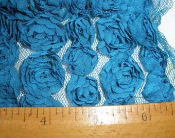 """1/2 Yard Chiffon Rose Lace Trim Applique Cerulean Blue 7"""" wide 3D Bridal Wedding Mesh Tulle 8 Row Tutu Dress shabby chic BTY yards"""