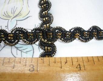 "Black & gold twisted trim choose yards Metallic 3/8"" sewing fashion craft scrapbook wedding bridal gimp braid embellishment"