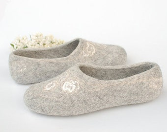 Felted slippers Pure Gray - Wedding gift organic natural gray white