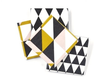 Geometry coasters, Triangle and  Harlequin  Ceramic Coasters, set of 4