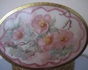 Gold Jewelry Box Open Metal Floral Glass Top Vintage Trinket Casket