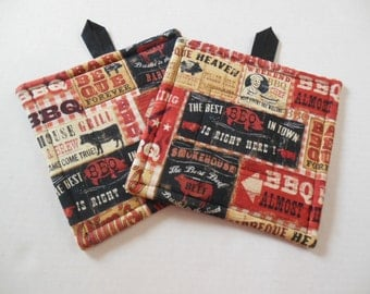 Potholders, Set of Two Quilted Potholders, Pr of Barbecue Potholders